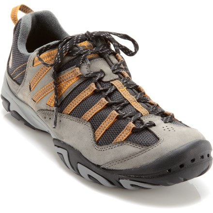 Fitness Using recycled materials to reduce their environmental footprint, the Timberland Earthkeeper Intervale Performance Shoes offer comfort and support for day adventures, whether you're on a trail or not. Supportive webbing, laces and sweat-wicking linings are made from recycled plastic bottles. At least 50% of the suede leather in these shoes comes from tanneries that work to reduce their environmental impacts. Rugged, flexible and breathable uppers comfortably support and protect your feet on day and light hikes. Low cut of shoes helps keep them lightweight and flexible for fast and light trail adventures, or you can wear them easily as everyday casual shoes. EVA midsoles help cushion feet through the miles; thermoplastic urethane shanks provide support and stability underfoot. Grippy rubber outsoles feature 42% recycled rubber and deliver good traction over changing terrain. Overstock. - $62.73
