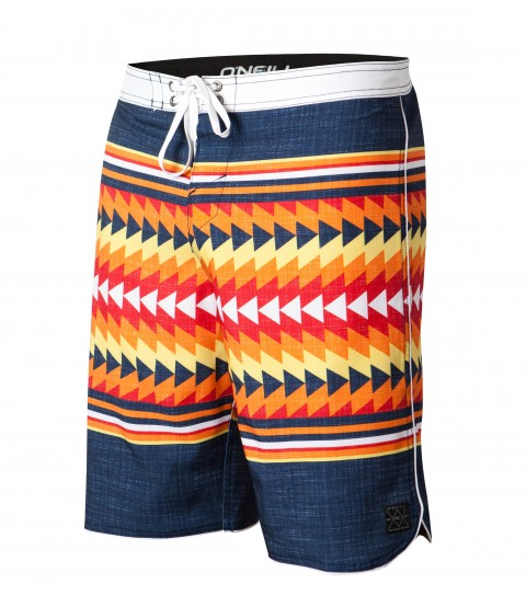 "Surf O'Neill Tomorrow Boardshorts.  Epicstretch.  20"" outseam shortie boardshort features contrast waistband; scallop hem with piping; superfly closure; back pocket; embroidery and screened logos. - $35.99"