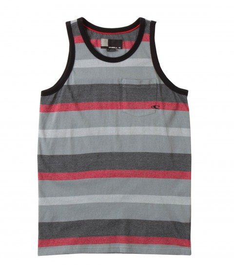 Surf O'Neill Boys Fiddelsticks Tank.  100% Cotton jersey.  Yarn dye stripe tank with garment wash.  Standard fit with logo embroideries and labels. - $21.99