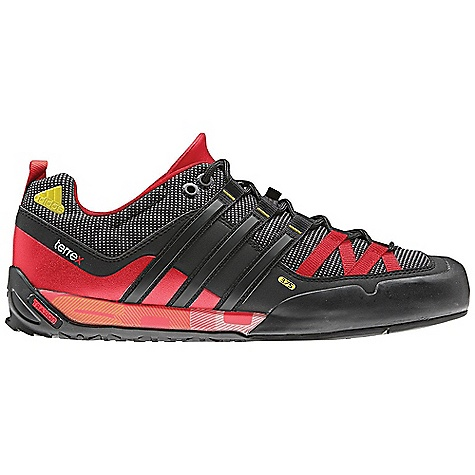 Climbing Free Shipping. Adidas Men's Terrex Solo Shoe DECENT FEATURES of the Adidas Men's Terrex Solo Shoe Light, durable approach shoe with high traction outsole increases its performance with new More protective toe cap that wraps up around the big toe Adipreneadds comfort on rocky conditions Upper: High abrasion mesh upper for extra durability Midsole: Protection plate for impact protection and forefoot stabilization Midsole: Adiprene insert for comfort and shock absorption Outsole: Approach specific outsole design with climbing zone - $119.95