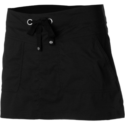 Camp and Hike You'd like to wear a comfortable skirt while you ride your townie or enjoy a sit-down picnic, and you'd rather not worry about who might see your undies either. Luckily, there's the Prana Women's Bliss Skort. Built-in, discrete-looking shorts take away underwear-worry while you travel, hike, or enjoy a casual day out in the park. - $59.95