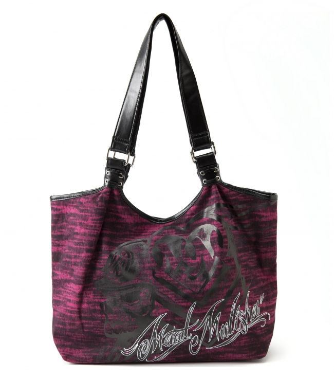 "Motorsports Metal Mulisha Maidens Tote. Pink canvas tote with screenprint; black faux leather trim; black foil logo print; lace up detail on straps; and black satin lining.18""W x 14""T x 5""D - $24.99"