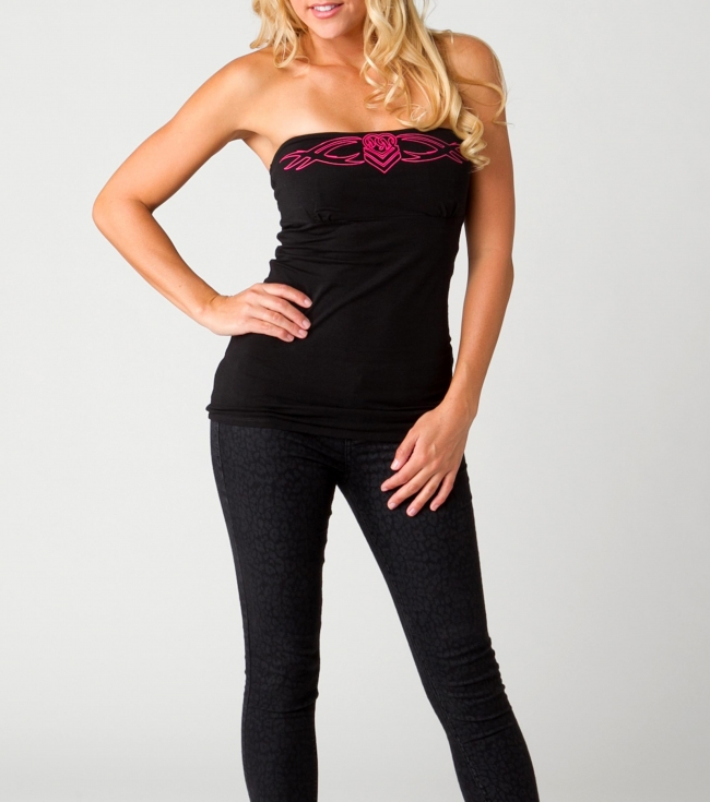 Motorsports Metal Mulisha Maidens Top.  95% Cotton / 5% Elastane Jersey.  Contrast satin stitched embroidery at front chest  and lace insets. - $17.99