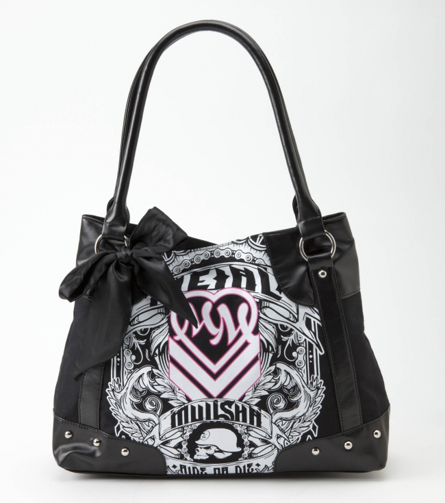 "Motorsports Metal Mulisha Maidens purse. Black canvas purse with screenprint; faux leather trim; silver circle studs; black satin bow; pink satin lining.14.25""W x 11""T x 5""D - $33.99"