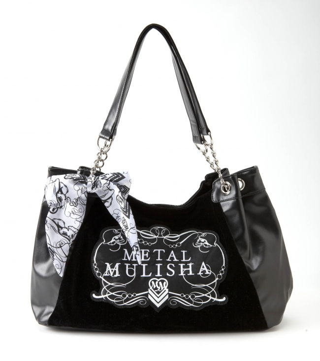 "Motorsports Metal Mulisha Maidens Purse. Black faux leather purse with black velour front panel; printed satin applique; side chain detail; printed white satin bow; and black satin lining.16""W x 10.5""T x 4.5""D - $29.99"