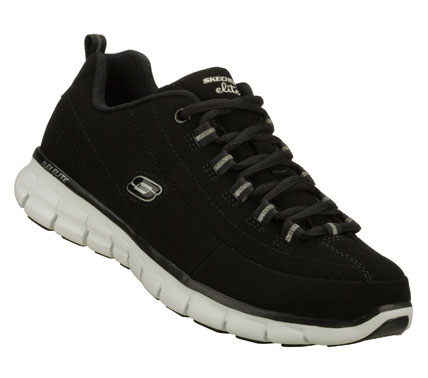Lead the way in sporty classic style and comfort with the SKECHERS Synergy - Trend Setter shoe.  Smooth leather and synthetic upper in a lace up athletic sporty training sneaker with Memory Foam cushioning; stitching and overlay detail. - $65.00