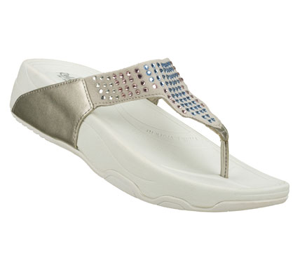 Surf Glittering style and easygoing comfort comes in the SKECHERS Relaxed Fit: Elevates - Ray of Light sandal.  Suede-textured synthetic upper in a casual comfort thong sandal with glittering gem sequin detail and stitching accents. - $50.00