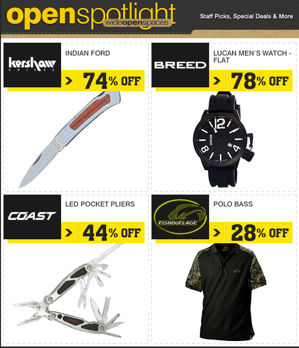 Hunting Shop our Monday Staff Picks! We've got awesome finds from Kershaw Knives-KAI USA Ltd., Fishouflage, COAST Products and Breed Watches! Head to wideopenspaces.com now!