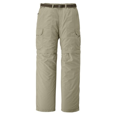 Fitness With a 28 in. inseam, the men's REI Sahara Convertible pants with No-Sit Zips feature an innovative new design that makes converting from pants to shorts and back again easier than ever before! Side zippers run the full length of the lower legs; together with thigh zippers they allow quick conversions without requiring wearer to sit down. They also preclude the need to slip lower legs sections over messy boots when converting from pants to shorts along a muddy trail. Color-coded thigh zippers help you easily tell the right leg from the left leg when converting back to pants. Lightweight nylon fabric dries quickly, resists pilling and is easy to pack away in a backpack. With a UPF 50+ rating, fabric provides excellent protection against harmful ultraviolet rays. Fabric is treated with a Durable Water Repellent finish to repel moisture and stains. Side cargo pockets offer ample space for trail items; also includes front hand pockets, zip coin/security pocket, 1 rear zippered pocket and 1 rear rip-and-stick pocket. Mesh pockets bags enhance ventilation and allow water to drain. Gusseted crotch facilitates freedom of movement for increased comfort. Included webbing belt can be completely removed if desired. Elastic waist helps secure the fit. - $44.93
