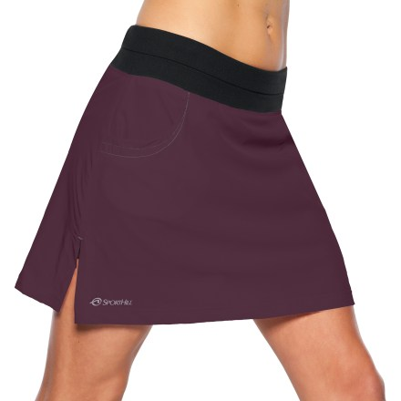 Fitness The SportHill Mazama skort is ready for action whether running, walking or hiking. Polyester/spandex blend fabric moves with you, and is moisture wicking and quick drying. Polyester/spandex blend under shorts are soft against skin. Flat elastic waistband offers a great fit. Front hand pockets. Special buy. - $30.73