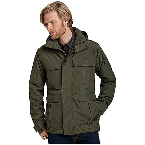 Free Shipping. Nau Men's Temp Jacket DECENT FEATURES of the Nau Men's Temp Jacket Insulation - 100 gm recycled poly with Cocona technology for quick dry and odor management Seam sealed Covered vislon DWR front zip with wind flap Snap off hood with 2-way drawcord 2 dual access front zip pockets, 1 left chest drop-in pocket 1 right zip chest pocket Internal Pockets: 1 zip with audio Drawcord mini storm skirt at waist and center back vent with snap Velcro cuff adjustment The SPECS Shell: recycled poly 2L WPB Lining: recycled poly taffeta Insulation: 30% recycled poly cocona 70%polyester 100 gm weight - $298.95