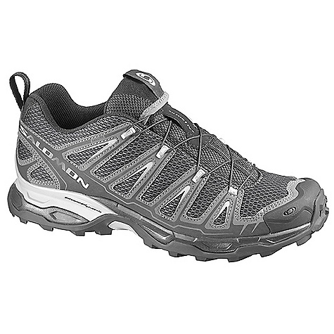 Camp and Hike Free Shipping. Salomon Men's X Ultra Shoe DECENT FEATURES of the Salomon Men's X Ultra Shoe Quick Drying Breathable Mesh: Single layer open air mesh combined with nylon layer allows extrem breathability and top abrasion resistance Low: Low-cut profile for freedom of movement Lace Pocket: Provides easy storage for the Quick Fit lacing system Protective Rubber Toe Cap: The right solution for the toe protection in mountain and trail environments Mud guard: Protective material all around the base of the shoe Sensifit: Sensifit system works to cradle the foot providing a precise and secure fit Quicklace: Minimalistic and strong lace for one-pull tightening. Easy-on, easy-off Textile: An abrasion resistant lining that allows for excellent breathability and quick drying Non marking Contagrip: Delivering optimal traction on varied surfaces, Salomon's Contagrip outsoles use the ideal combination of specialized rubbers for each specific use Advanced Chassis: Salomon's lightweight advanced chassis, placed between the outsole and midsole, maximizes motion control, energy management and push through protection for an efficient, stable and responsive ride Injected EVA Molded EVA: Provides excellent next to foot cushioning and anatomical support EVA shaped footbed: Provides excellent cushioning and anatomically designed support OrthoLite: OrthoLite sockliner combines a specific Ortholite foam and an EVA heel cup Ortholite foam creates a cooler, drier, healthier, better cushioned environment under the foot It will not break down or lose effectiveness over time Recycled tire content to protect the environment EVA heel cups allows for a better heel support and added cushioning Heel foam - $119.95
