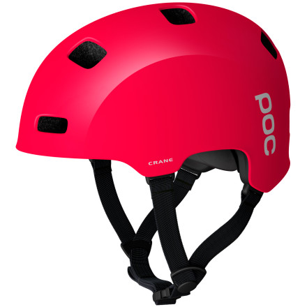 Fitness Dirt jumping and dowhill require more head protection than an in-mold XC helmet can provide. The POC Crane Helmet is a hard shell, multi-impact freeride helmet with more coverage than an XC helmet, a dent-resistant shell, and a dual density EPS liner for added protection and comfort.The Crane fits more like a skateboard helmet, and this way it envelopes more of your skull. The fit can be custom tailored, and since it offers more coverage, the potential for movement when your head strikes the ground is less than smaller helmets with less coverage. Thinking about the way we wreck on trails, there is a greater chance for a variety of trajectoryforwards, sideways, even backwards. When you get crazy, crazy things happen. So, to protect your brain you need to cover your skull. POC builds the Crane Helmet as a single layer system. It has a polycarbonate shell that acts as the first defense against impact energy. It spreads the impact across a greater area so that the EPS liner can further absorb and soften the blow and protect your brain. It's designed as a multi-impact system, so the helmet can survive more than just a few connections with the terra firma. POC punches eight large vent holes in the shell, so you'll get plenty of airflow on hot days. A size adjustment system at the back allows you to snug it down for a perfect and wiggle free fit. The POC Crane Helmet comes in Krypton Blue, Lead Blue, Iodine Green, Bohrium Red, Hydrogen White, and Uranium black and is available in three sizesExtra Small/Small, Medium/Large, and X-Large/XX-Large. The pads inside are treated with Polygiene. It prevents bacterial growth, is eco-friendly, and is perfectly safe next to your skin. Since the bacteria can't grow on the pads, they'll last longer, require less cleaning, and smell way better. - $119.95