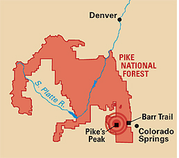 Camp and Hike AMERICA'S 10 MOST DANGEROUS HIKES - BARR TRAIL, PIKES PEAK, CO - A hair-raising hike.  Article by Kelly Bastone