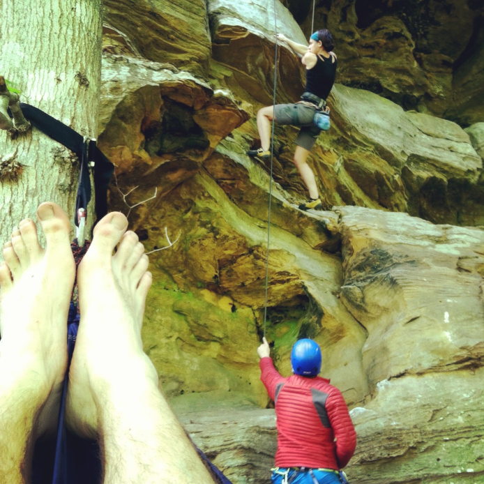 Climbing Guy from Customer Service sent me this while he was climbing in The Red. He's got webbed toes so that's why his feet are in the pic. So jealous. Of climbing all weekend, not his webbed toes. LTM -Lola