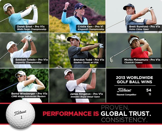 Golf Congratulations to Titleist Golf Ball loyalists Derek Ernst, Cristie Kerr, Brett Rumford, Esteban Toledo, Brendon Todd, Michio Masumura, Bernd Wiesberger and James Kingston as they combine for 8-win weekend across the worldwide professional tours.