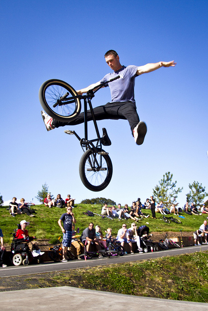 BMX Josh Webber performing a 'Suicide' at Parkfield