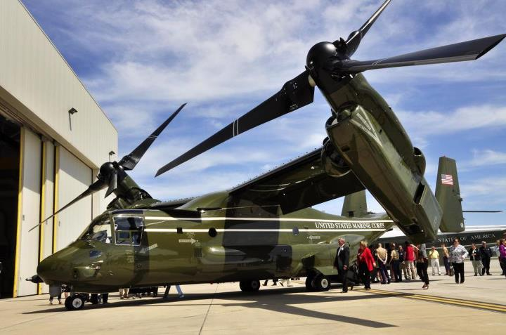 Guns and Military The White House's helicopters, Marine Helicopter Squadron One,  are upgrading from the CH-46E Sea Knights to MV-22B Ospreys.