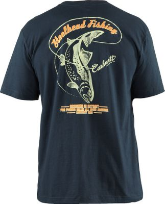 Flyfishing Looking for a way to show your passion for fishing? This Carhartt Mens Graphic Steelhead Fishing Short-Sleeve Pocket Tee Shirt is a fishermans dream. The left chest pocket with Carhartt script logo, and printed steelhead fishing graphic on the back, are sure to let everyone know that when it comes to the rod and reel, you are a force to be reckoned with. Tee is washed for a soft finish and reduced shrinkage. 100% cotton jersey knit with side-seam construction to minimize twisting. Tagless neck label. Imported. Sizes: M-2XL. Colors: Dark Red, Navy. Carhartt Style No.: 100395. Size: Medium. Color: Dark Red. Gender: Male. Age Group: Adult. Pattern: Graphic. Material: Cotton. Type: Short-Sleeve Tee Shirts. - $14.88