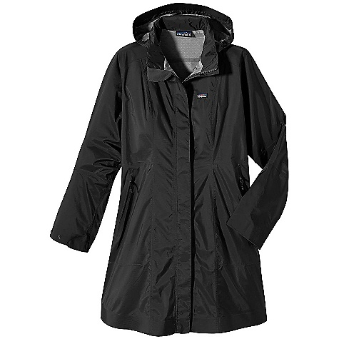 On Sale. Free Shipping. Patagonia Women's Rain Shadow Trench Coat DECENT FEATURES of the Patagonia Women's Rain Shadow Trench Coat 2.5-layer tear-resistant fabric is packable and lightweight, interior surface texture channels moisture away from skin, protects the H2No waterproof/breathable barrier from abrasion and slides easily over layers Adjustable, removable hood secures with hidden snaps Full front placket with snaps and 2-way zipper covered with storm flap Articulated elbows, two-position-snap cuffs Princess seaming and darts, front and back, for feminine shaping Two angled front zippered pockets Regular Fit The SPECS Weight: 345 g / 12.2 oz Fabric: 2.5-layer, 2.7-oz 50-denier 100% ripstop nylon with a waterproof/breathable H2No barrier and a Deluge DWR (durable water repellent) finish Recyclable through the Common Threads Recycling Program This product can only be shipped within the United States. Please don't hate us. - $179.99