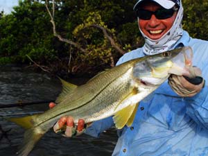 Flyfishing Fly Fishing for Snook.  Article written by Bill Cooper