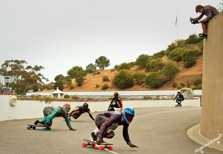 Skateboard Ambassador Camilo Cespedes leads a pack down the course at the Catalina Island Classic. Adam Stokowski photo.