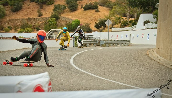 Skateboard Loaded ambassador Kyle Chin kicks it sideways into turn 2 at the Catalina Island Classic! Adam Stokowski photo.
