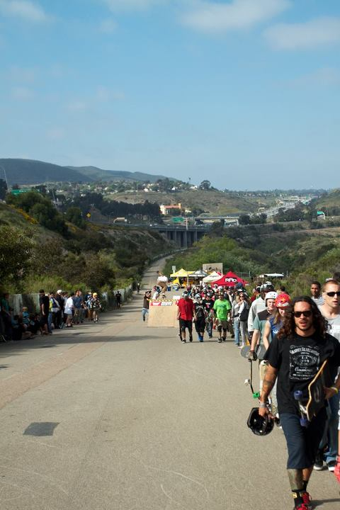 Skateboard Hordes of shred-happy skaters hike up the hill at this year's MuirSkate.com Downhill Disco (Ari Chamasmany photo).
