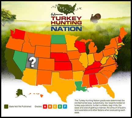 Hunting The Realtree.com Turkey Hunting Nation map is filling up and the reports are winding down. Today's report is on Utah. Click here to see how it graded: http://bit.ly/ZXgXtJ and then the list below the map for detailed reports for all the states.