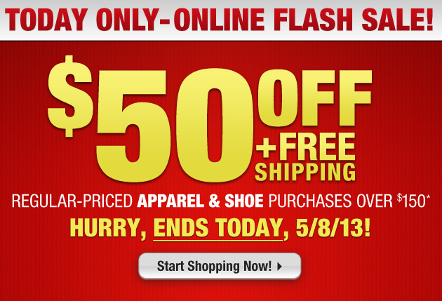 Golf Today Only- Online Flash Sale! $50 Off + Free Shipping on regular-priced apparel & shoe purchases over $150. Hurry, ends TODAY, 5/8/13! Shop here: http://bit.ly/13hJFsj