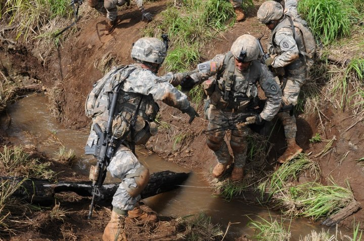 Guns and Military Soldiers of Bronco Brigade, 3rd BCT 25th ID, participate in the Bronco Rumble May 6 on Schofield Barracks, Hawaii. The Bronco Rumble is company level combined arms live fire exercise designed to develop critical thinking and tactical skills, while prepari