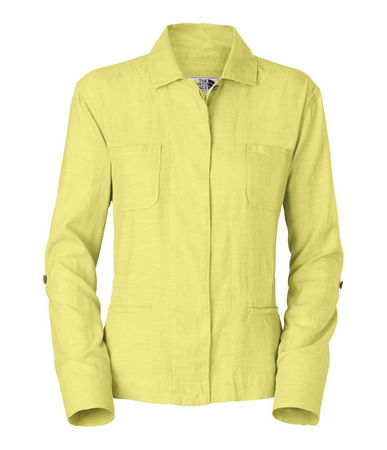 The North Face Betasso Chiffon Yellow Top. Tunic jacket style. Sharp looking with accent buttons at sleeve.  Faux lower jacket pockets and drop in high pocket. 100 % cotton. Light for sumer and a neat sporty look. - $30.00