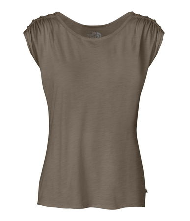 Button-detailed shoulders with subtle shirring add a touch of femininity to this springtime staple. A wide neckline and split hem offer a relaxed, comfortable fit. The garment-washed finish makes this tee one of the softest in your collection - $17.50