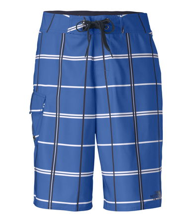 "Surf Dive in and enjoy your favorite water sports wearing our durable, printed polyester boardshorts with side cargo pocket. QuickDry treatment discourages water absorption and speeds overall drying time. The waistband of these 11"" inseam boardshorts fastens with a drawstring closure and the front closes with a hook-and-loop fly. Constructed with a crotch gusset and a comfortable, relaxed fit that's cut wider through the thigh. - $30.00"
