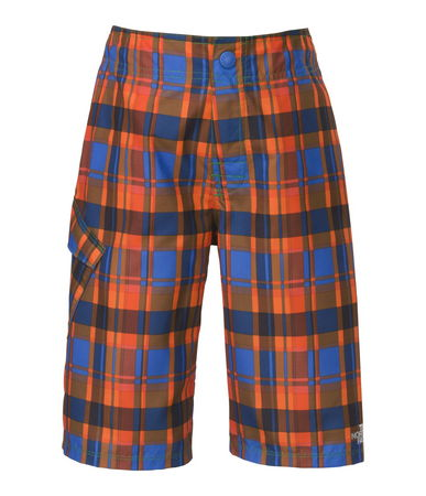 "Hydraspace Cargo boardshorts from TNF. He'll love the versatility of these classic plaid-print boardshorts. Durable, QuickDry fabric is treated with a DWR (durable water repellent) finish to quickly shed moisture when he emerges from the water. The elasticized waistband stays put and won't ride down for all-day comfort. A long, 10"" inseam provides plenty of extra coverage - $50.00"