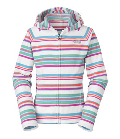 Bold stripes make this cheerful fleece girls' Glacier hoodie a fast favorite. This durable full-zip jacket adds a stylish layer of lightweight warmth to her everyday outfits. Split kangaroo-style pockets are a cozy place to warm hands on chilly days - $50.00