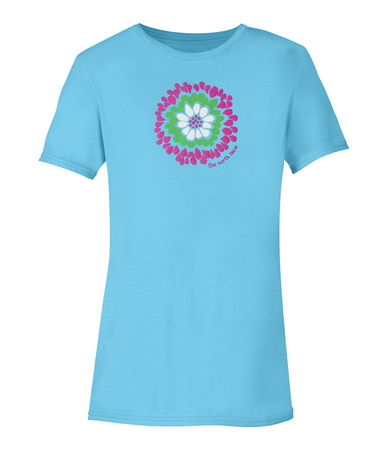 The Severni Tee is a ribbed-crewneck tee blossoms with a cheerful screen-printed floral graphic. Cotton/organic cotton fabric makes this short-sleeve T-shirt highly breathable during outdoor activities.  Turquoise Blue with graphic. - $20.00