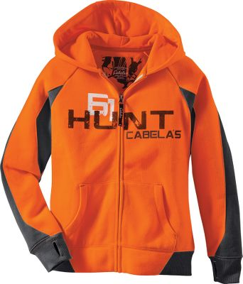 Hunting Warming fleece softness and casual hoodie performance combine for excellent everyday wear. The three-piece hood on this Cabelas Youth Hunt Full-Zip Hoodie has 100% cotton lining. Cuffs are equipped with durable thumbholes. Pockets will warm hands and hold gear. Color blocking, hood piping and a bold chest graphic add style. 2 sweep protects against drafts. 60/40 cotton/polyester. Machine washable. Imported.Sizes: S-XL.Camo patterns: Blaze Orange, Realtree XTRA. Type: Hoodies. Size: X-Large. Camo Pattern: REALTREE XTRA. Size Xl. Color Realtree Xtra. - $29.99