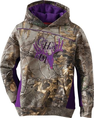 Hunting Warming fleece softness and casual hoodie performance combine for excellent everyday wear. The three-piece hood on this Cabelas Girls Hunt Logo Hoodie has 100% cotton lining. Cuffs are equipped with durable thumbholes. A kangaroo pocket holds gear and warms hands. Color blocking, hood piping and a bold chest graphic add style. 2 sweep protects against drafts. 60/40 cotton/polyester. Machine washable. Imported. Sizes: S-XL. Camo pattern: Realtree XTRA. Size: LARGE. Color: Realtree Xtra. Gender: Female. Age Group: Kids. Pattern: Graphic. Material: Fleece. Type: Hoodies. - $35.88