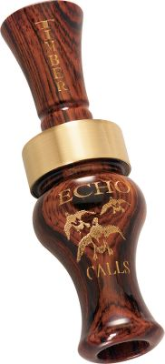 Hunting When hunting flooded timber, you dont want your calls ringing and echoing throughout the entire marshland, creating an unnatural sound that can flare the birds before they ever drop into the treeline. Echos Timber Duck Call produces an extremely mellow sound that still has a raspy tone to coax wary ducks to come and have a seat. Fitted with a polished brass band at the bell for added strength. And as always, Rick Dunn hand-tunes every Echo call before it leaves the factory. Available: Bocote. Color: Timber. - $62.88