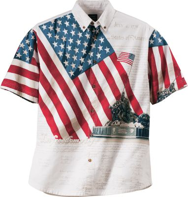 Show your pride in the USA with the Let Freedom Ring Short-Sleeve Woven Shirt. Features the raising of the flag over Iwo Jima set against Old Glory one of the most iconic images in U.S. history. Button-down collar. 100% cotton. Imported.Sizes: M-2XL.Color: Natural. Type: Short-Sleeve Shirts. Size: Large. Color: Natural. Size Large. Color Natural. - $14.88