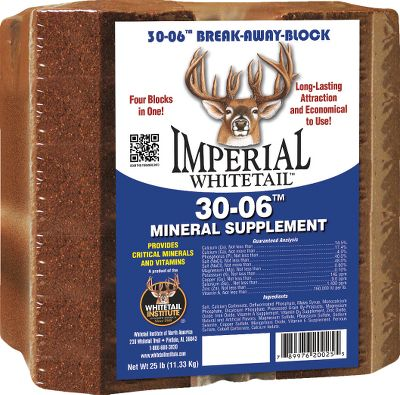 Hunting An addictive combination of nutrition and attractants, the Whitetail Institute .30-06 Mineral/Vitamin Block maximizes antler growth, pregnancy health and lactation in deer during the spring and summer months. High-quality mineral and vitamin supplements blend in a formula with superior performance and digestibility. Exclusive scent and flavor enhancers, including Whitetail Institutes addictive Devour, draw deer to this nutritious snack. Its so delicious, deer have been known to dig holes in the ground just to get it. This handy block also breaks into as many as four pieces for use in multiple areas. Includes crucial macro and trace minerals as well as vitamins A, D and E. Size: 25 lbs. - $24.99