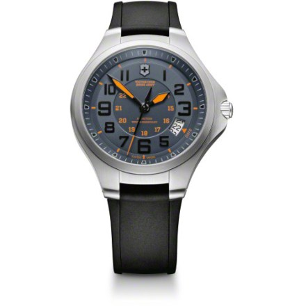 Camp and Hike The handsome Victorinox Swiss Army Base Camp watch offers an easy-to-read dial with orange highlights. You can count on its rugged stainless-steel, water-resistant design and quality components. - $135.73