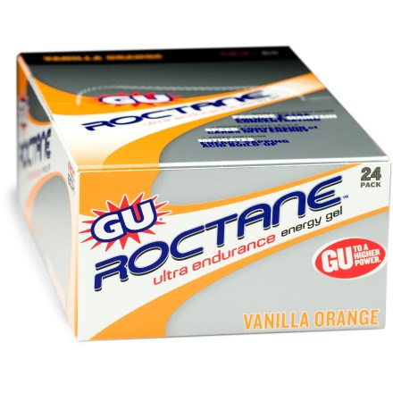 Camp and Hike Ready to deliver maximum energy when you hit the wall, the GU Roctane Ultra Endurance energy gel formula contains an amplified blend of nutrients to help you push it on multiple-hour endurance trials. Roctane features more of the essential amino acid histodine than the original GU formula, leading to less lactic acid build-up in muscles and improving performance. Roctane adds amino acid complex Ornithine Alpha-Ketoglutarate (OKG) to limit the body's tendency to break down muscle protein tissue during extremely hard training and racing. Potassium citrate, sodium citrate, and citric acid help speed the conversion of carbohydrates into energy molecules. Branched amino acids leucine, valine and isoleucine serve as an additional fuel source, aid in recovery and help maintain mental focus. Blueberry Pomegranate, Chocolate Raspberry, Vanilla Orange, Island Nectars and Cherry Lime flavors of Gu Roctane Ultra Endurance energy gel contain 35mg of caffeine. Specifications based on a range of flavors; nutrition facts displayed here and on wrapper may differ; information on wrapper reflects actual contents. Convenient, easy-to-use squeeze package-simply squeeze into mouth and follow with water. 24-pack box. Closeout. - $28.73