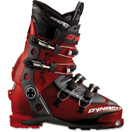 Ski They aggressive Dynafit ZZero4 U-TF randonee boots are designed for downhill-oriented skiers who want top performance on the descent and the ability to tour into the mountains. Polyurethane shells with Pebax(R) plastic tongues provide top downhill performance, yet are suitable for backcountry tours. Pebax plastic tongues maintain a consistent flex in all temperatures so your boots won't feel extra stiff on a frigid day. Rislan power stringers run up the sides of the boots to increase rigidity and support for excellent downhill performance. Lightweight thermoformable liners feature durable interior and exterior fabric to resist wear; collars are shaped for comfort around the calf muscles. See an REI ski shop professional to have the liners custom molded to your feet to maximize comfort and performance. The ski/walk mechanisms are easy to activate; they can be set for 2 ski positions (15deg and 21deg) as well as loosened for walking. Four magnesium buckles and a power strap on each boot close the boots comfortably and securely around your feet and legs. Self-guiding notches located at the Dynafit inserts at the toes of the boots ease stepping into Dynafit bindings. Dynafit ZZero4 U-TF randonee boots have lugged soles that grip well on snow, rock and dirt. - $349.93