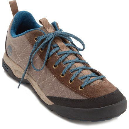 Fitness With sticky rubber outsoles built for serious traction, the Timberland Earthkeepers Radler Approach Canvas shoes outfit feet for trail adventures. Gripstick(TM) partially-recycled rubber outsoles offer sure footings on varied surfaces, wet or dry; rubber toe bumpers add protection. Trail-ready suede leather and recycled PET uppers; breatheable recycled PET linings; removable footbeds. Compression-molded EVA midsoles and semi-rigid fabric plates cushion and support feet mile after mile. Closeout. - $37.73