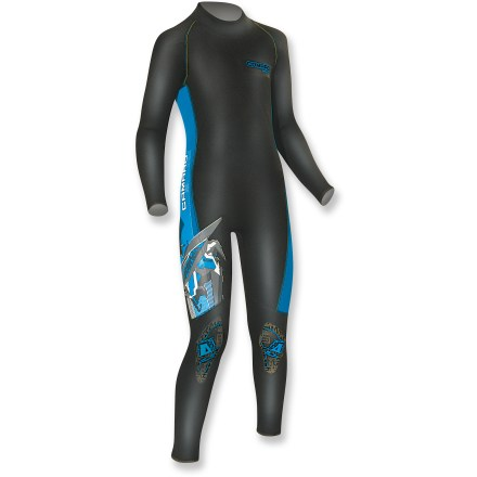 Kayak and Canoe The Camaro WaterKid Overall wetsuit lets kids dive into watery adventures like surfing, kayaking or stand-up-paddleboarding without getting chilled. Stretchy 2mm neoprene offers a flexible, comfortable fit; full-length arms and legs add coverage without restricting movement. Draft flap on rear zipper protects skin from abrasion. Closeout. - $46.73