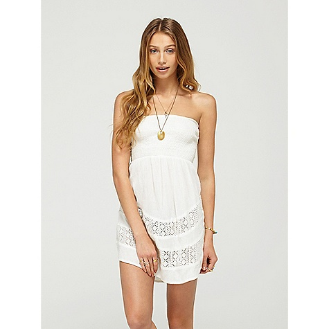 Surf On Sale. Roxy Women's Radiate Love Sweet Vida Dress DECENT FEATURES of the Roxy Women's Radiate Love Sweet Vida Dress 100% Cotton Gauze Strapless cotton gauze dress with smocking at the top and pieced cotton crochet panels at bottom hem 34in. Hps - $27.99