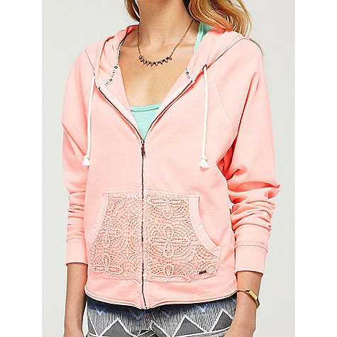 Surf On Sale. Free Shipping. Roxy Women's Neon Tide Hoodie DECENT FEATURES of Roxy Women's Neon Tide Hoodie   Crochet trim to make this sweatshirt extra girlie   Includes a deep kanga pocket at front The SPECS   24-inch length   100% cotton jersey fleece   Machine wash - $36.99