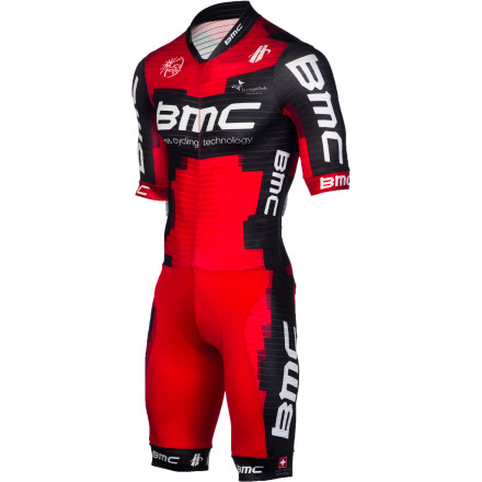 Fitness Hincapie and BMC developed the Short-Sleeve Speedsuit with direct input from the BMC Race Team. Its riders have been wearing this new speedsuit for its race-proven construction, advanced fabric technologies, and body molding fit. BMC made this version of the Speedsuit available to the public this year, helping you gain an aerodynamic edge over the competition in all of your upcoming time trial events. Knowing that time trial athletes spend the majority of their time on the bike in low, muscle-taxing positions, Hincapie engineers used a combination of its AT2 Tour Lycra Power and StealthWerks3 fabrics to construct the Speedsuit. Both of these materials were incorporated into the suit because of their supportive, moisture wicking, and aerodynamic properties. Starting with the suit's upper, Hincapie's wind tunnel-tested Stealthwerks3 fabric was chosen for its ability to optimize airflow over the body. This material's textured surface is responsible for this wind-cheating effect, which incorporates polyester and elastane blended threads that have been woven into channels. Essentially, this design works by directing airflow around the body more efficiently than standard, smooth Lycra blends. In addition to this material's aerodynamic properties, the surface was treated with a hydrophobic finish that pulls moisture away from your skin and transports it quick-drying outer layer. AT2 Tour Lycra was used for the suit's leg panels, as it's a polyester and Lycra Power yarn blend that provides a supple feel. At a lightweight 225 GSM (a measurement of fabric weight), the AT2 Tour blend ensures that you benefit from the smooth feel and wicking properties of polyester, while maintaining the supportive fit and aerodynamic edge of Lycra Power. Additionally, the weight of the fabric gives it compressive support that reduces muscle fatigue and helps promote positive blood flow. - $75.36
